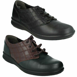 EASY B DB SIZZLE LADIES LACE UP LEATHER FLAT CASUAL EVERYDAY WIDE SMART SHOES