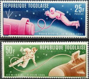 TOGO 1965 487-88 A Menschen im Weltraum Men in Space Raumfahrt Astronauts MNH