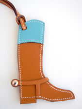 NIB Authentic Hermes Paddock Botte Boot Leather Bag Charm Natural Sable Blue