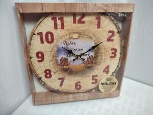 "Metal Cabin clock ""relax you're on lake time"" rustic farmhouse wood look"
