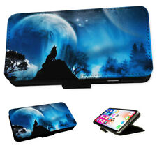 Howling Wolf Moons Planets - Flip Phone Case Wallet Cover Fits Iphone & Samsung
