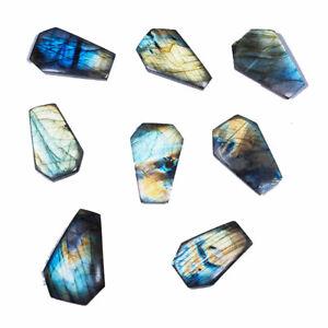 8 Pcs Natural Labradorite 29.5mm-35mm Huge Flashy Untreated Fancy Cut Gemstones