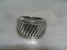 Estate AVON RJ 925 Marked Sterling Silver Oxidized Stripe Tapered Band Ring Size
