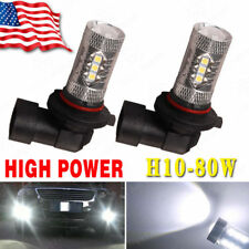 2x High Power 80W H10 LED Fog Light Driving Bulbs 6000K Super White 9145 LED US
