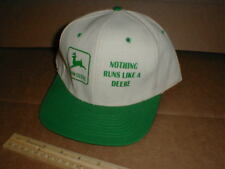 Vtg John Deere tractor Snapback hat rare cloth fabric TAN Philippines Nissin cap