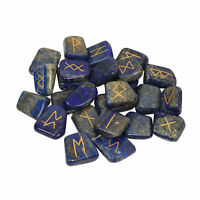 Natural Lapis Lazuli Rune Set Stones Hand Engraved Blue Crystal Healing Reiki