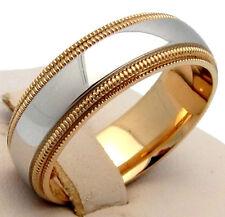 MENS GOLD WEDDDING BAND DOUBLE MILGRAIN 14K TWO-TONE