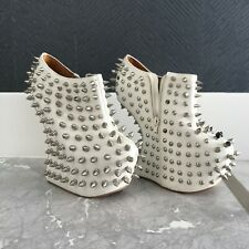 Jeffrey Campbell Shadow Studs White Leather Size 7 Boots Booties Sculpted Wedge
