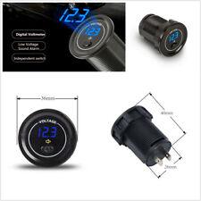 Car Motorcycle 12V-24V LED Digital Display Voltmeter Low Voltage Alarm w/Switch