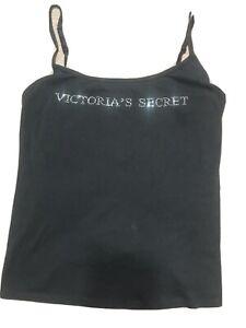 Victoria's Secret Bling Logo Black Cotton Cami Sz L Soft & Comfy 4 All Occasions