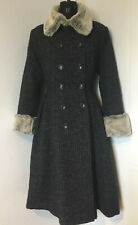 collectif coat Houndstooth Grey Fur Faux 1950s Pinup Glamour Size XXL 18 Blogger