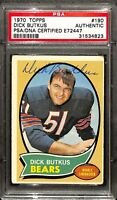 Dick Butkus Signed 1970 Topps #190 Chicago Bears Football Card PSA/DNA