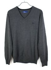 FRED PERRY Men Jumper V Neck Sweater Cardigan Pullover Size M GZ210