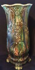 Vintage Umbrella Cane Stand Large Floor Vase Majolica Style Drip art nouveau