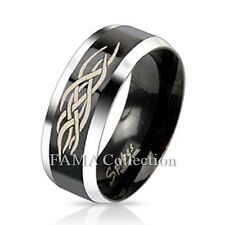 FAMA Stainless Steel Duo Tone Black IP Centre Tribal Inlay Band Ring Size 5-13