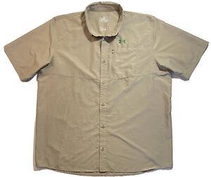 Under Armour Mens UA Fishing Vented Performance Shirt Loose Heat Gear Tan Sz XXL