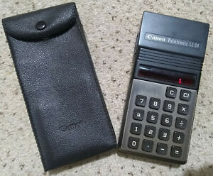 Vintage CANON PALMTRONIC **Pocket Calculator** Model LE-84, with CASE! @Red LED@