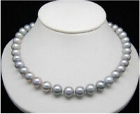 Round  AAA 9-10MM South Sea Genuine Gray Pearl Necklace 18inch 14K Gold Clasp