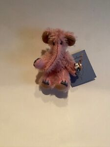"""DEB CANHAM ARTIST DESIGNS """"INKY"""". MINI MOHAIR.PINK ELEPHANT -3 1/4""""JOINTED-"""