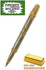 Victorian Twist Ballpoint Pen with Aluminum Body & 24ct. Gold Hardware / #260