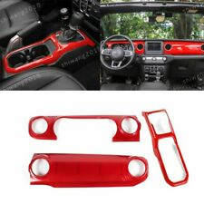Center Console Dashboard+Gear Shift Cover Trim For Jeep Wrangler JL 2018-19 Red