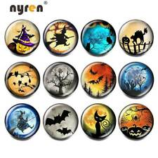 12pcs 18mm Glass Snap Button Halloween Theme Charms Snap Button For Snap Jewelry