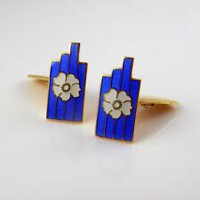 Mid Century Enamel Floral Blue White Cuff Links Cuffinks Designer Sterling Silve