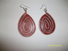 BURNT ORANGE DESIGNED BANANA PAPER TEAR DROP HAND CRAFTED PIERCED EARRINGS #085