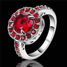 Fashion Anniversary Ring Red Garnet 18K white gold filled Ring Gift Size 9