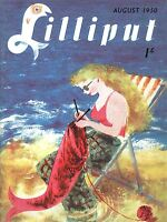 ART PRINT POSTER MAGAZINE LILLIPUT AUGUST 1950 KNIT MERMAID BEACH NOFL0657