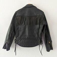 Langlitz Leathers Fringe Vintage Biker Motorcycle Jacket Size Medium