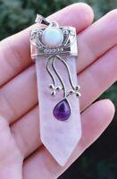 Rock quartz Stone sword Pendant Energy Reiki Healing Amulet