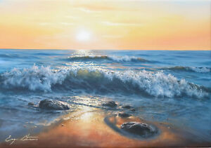 J. Litvinas Original Oil Painting 'OCEAN COAST' 20 by 14 inches