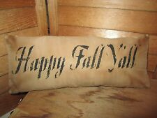 Primitive Stenciled Pillow - Happy Fall Y'all- Halloween