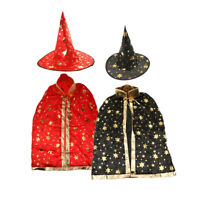 2 Set Kid Wizard Magician Fancy Dress Halloween Party Costume Cloak Hat Suit
