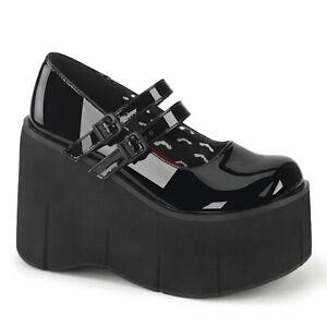 Demonia KERA-08 Black Mary Jane Women's Wedge Heels & Platform Gothic Shoes