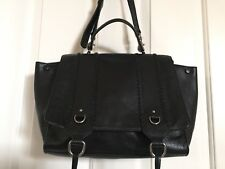 REBECCA MINKOFF *PAIGE* LEATHER WHIPSTITCH SATCHEL BLACK  *NWOT*