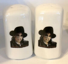 MICHAEL JACKSON D3 WHITE CERAMIC SALT AND PEPPER  POTS, SHAKERS