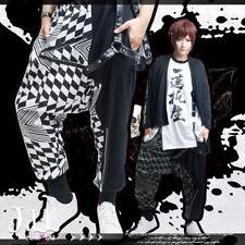 street punk harajuku geometrical F1 check clashing colour harem pants【JAG0072】