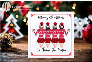 Christmas Best Friends/Sister Personalised Card - Four Person