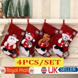 4PCS Christmas Tree Hanging Santa Stocking Sock Candy Bags Gift Xmas Tree Decor