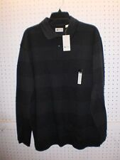 HAGGAR Men's Size Large Long-Sleeve 2-Button Charcoal Print Polo FREE Shpg NWTA