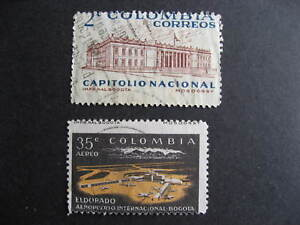 Colombia 2 used stamps each with a print shift error, mixed condition, see pics