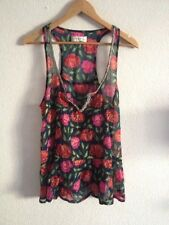 Abercrombie & Fitch Polyester Top Size L (12) Floral Print Bead Trim <R13264