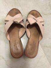 Kate Spade Womens Light Pink Peony Bow Leather Slide Sandals Shoes size 6.5
