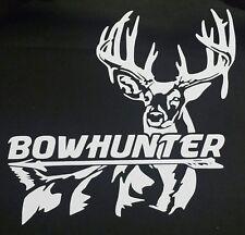 Bowhunter big buck deer hunting sticker decal white  vinyl 5x5in truck window