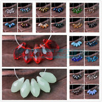 10/50pcs 12x6mm Crystal Glass Faceted Teardrop Pendants Loose Spacer Beads Drops
