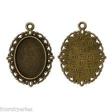 50 Pendentifs Supports de Cabochon Camée Ovale Dentelle Bronze Bijoux 29x22mm