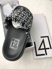 L4L Lust for Life Womens Shoes Black Slide Sandals 7 M Strike Woven Strap