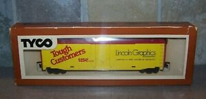 TYCO LINCOLN GRAPHICS PROMOTIONAL 50 FT BOXCAR NOS OLD STORE STOCK